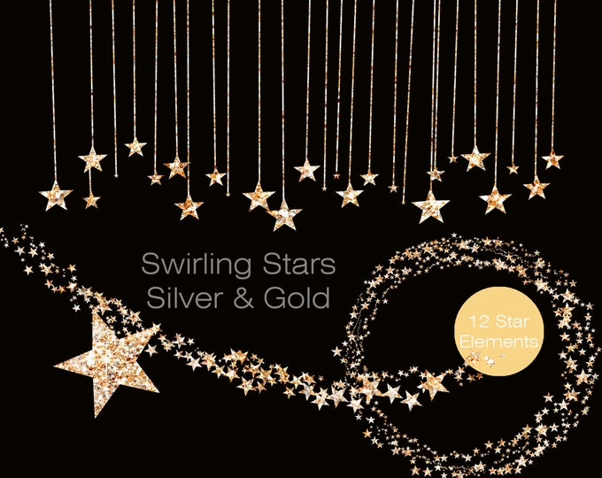 SILVER & GOLD STARS Clipart Commercial Use Clipart Silver Metallic Gold Glitter Stars Digital clip art Star Banner Garland Bunting Clipart
