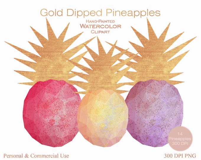 TROPICAL PINEAPPLE Clipart Commercial Use Clipart 14 Watercolor Pineapple Graphics Dipped with Sunset Gold Foil Confetti Pineapple Clip art