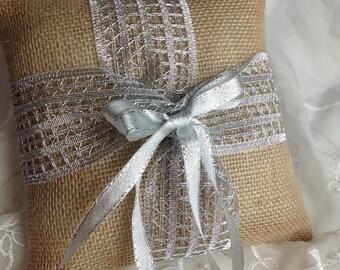 Burlap ring bearers pillow, burlap and silver Pillow.   ---------