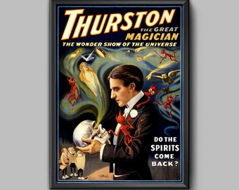 Vintage Poster, Vintage Magic Poster, Art Print, Thurston the Great Magician Classic Magic Poster, Wall Art, Home Decor