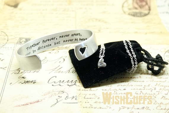 and Daughter Jewelry Set- Cuff Bracelet and Heart necklace, Gift ...