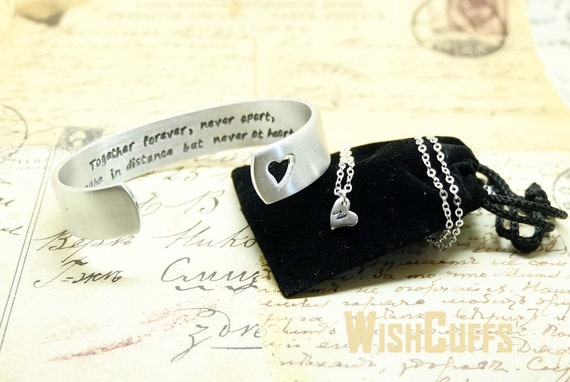 Jewelry Wedding Gift For Daughter : and Daughter Jewelry Set- Cuff Bracelet and Heart necklace, Gift ...