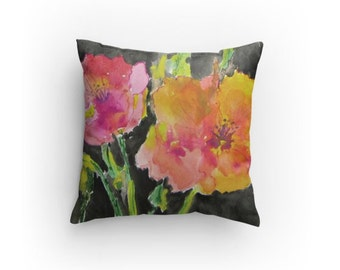 Decorative Pillow, Throw Pillow , Modern Watercolor Design Floral, with Pillow Insert