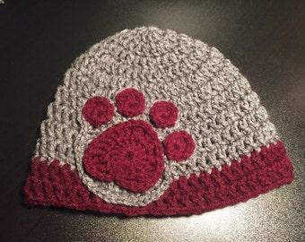 Adult Crochet Paw Print Beanie, Skull Cap