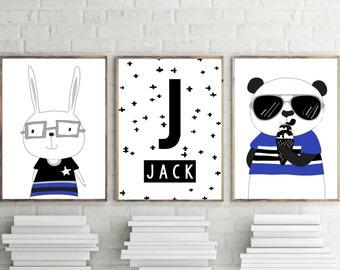 Nursery Prints, Bedroom Prints, Boys Wall Art Decor, Personalised Name Print, Monochrome, Bear, Bunny, Set of 3- A4 8X10