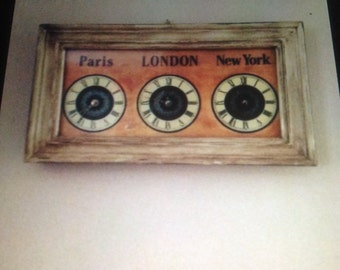 Vintage shabby chic time zone clock