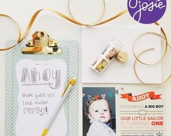 Ahoy • Little Sailor Birthday Party Invitation