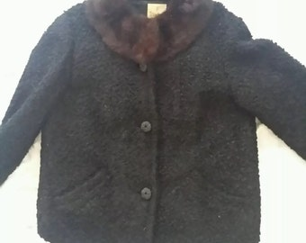 Curly Lamb vintage jacket  with mink collar Handcrafted by WINTER
