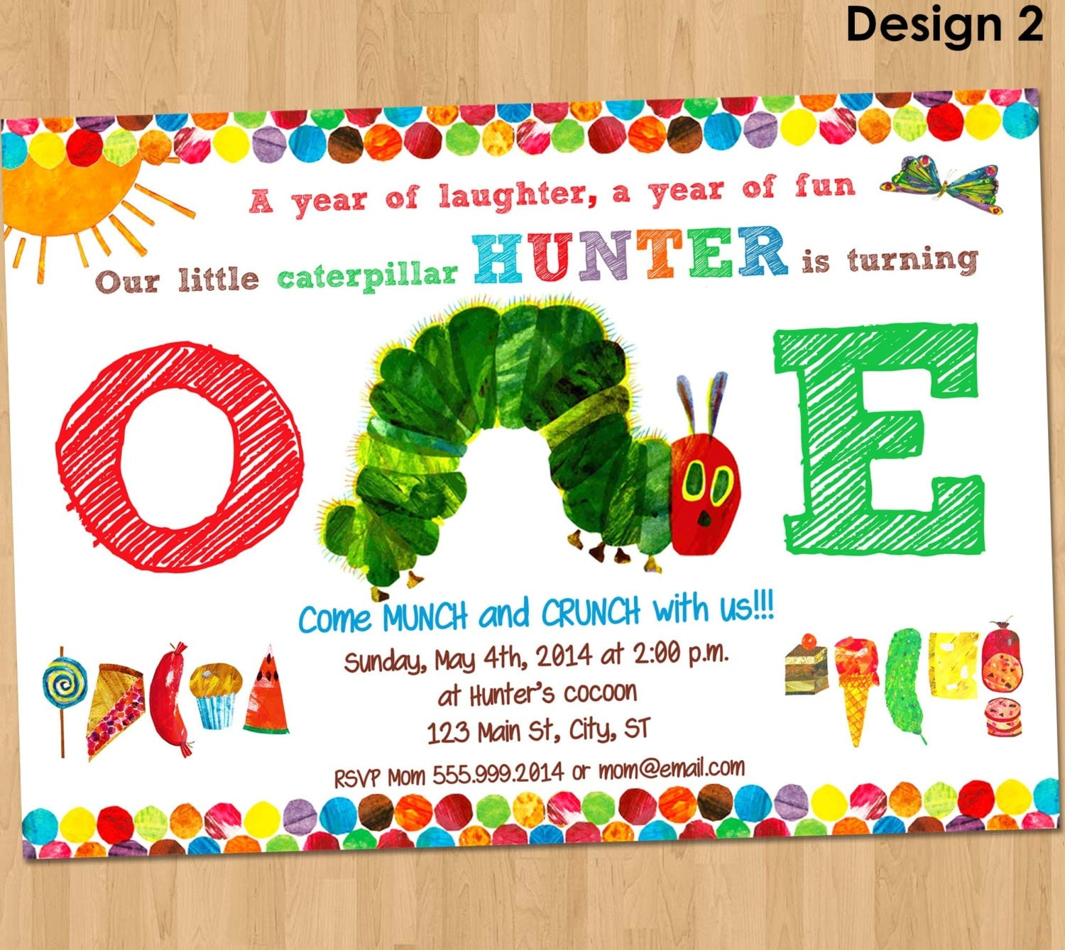 very hungry caterpillar invitation first by hannahscustomdesigns. Black Bedroom Furniture Sets. Home Design Ideas