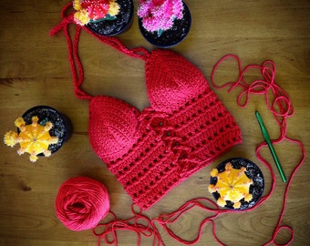 Red Lace Up Crochet Top