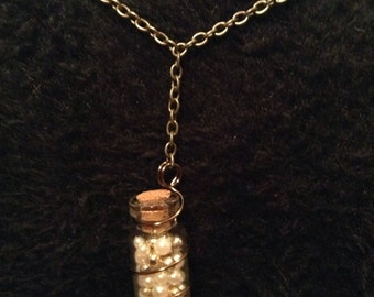 Pearl and Gold Glass Bottle Necklace
