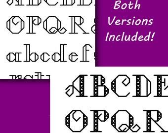 Stroked Font Cross Stitch Pattern