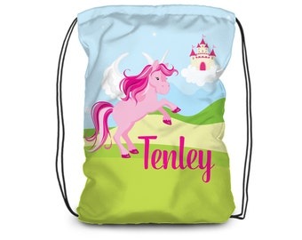 Unicorn Personalized Drawstring Backpack - Pink Unicorn Bag, Fairytale Magical Unicorn Backpack, You Pick Color - Kids Personalized Gift