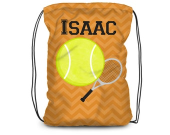 Tennis Drawstring Backpack - Sports Bag Orange Chevron Sinch Bag, Tennis Ball Personalized Backpack, You Pick Sport - Kids Personalized Gift