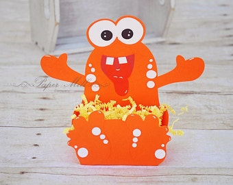 6 Handmade Monster Treat Favor Boxes- Belly Boxes- Monster Birthday Party Decor- Boy 1st First Birthday Party- Monster Candy Boxes- Set of 6