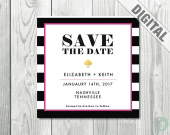 Black and White Striped Save the Date Invitation  |  Digital | Printable | Save the Date Card