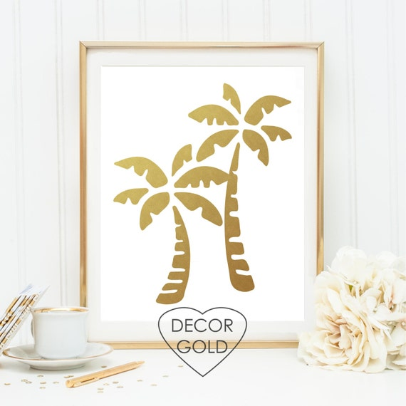 Gold Wall Home Decor : Items similar to palm tree gold foil print art