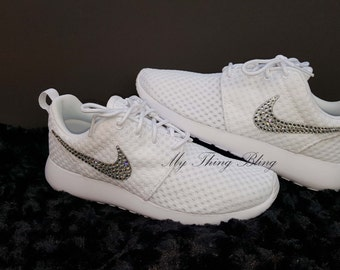 Woman's Nike Roshe One BR W/Swarovski Crystals - White/MTLC Platinum