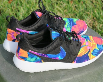 New! Neon floral tahitian Nike Roshe with Blue/Pink Flower Swoosh