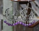Amethyst Stone Chandelier Earrings ~ Lavender Semi Precious Stone Jewellery ~ Boho Style ~ Bohemian Purple ~ Graduation Gift ~ Gift for Mum