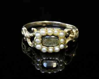 Antique Georgian Pearl & Crystal 18ct Gold Mourning Ring Circa 1870