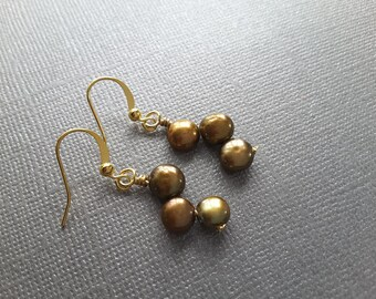 Dark Khaki Freshwater Pearl Waterfall Earrings