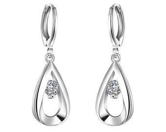 925 Sterling Silver Cubic Zircon Elegant Earrings