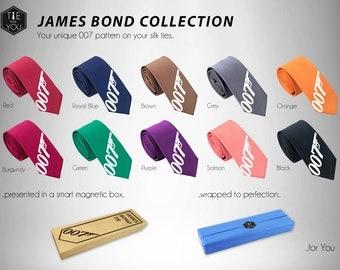James Bond Tie - Silk Tie - Spectre Tie - Slim Tie - Wedding, Christmas Gift, Fathers Day Gift, Birthday Gift - Tuxedo - FREE UK Shipping!
