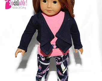 18 inch Doll Clothing, Cascade Jacket, Pink Top, Feather Leggings made to fit like American girl doll clothes
