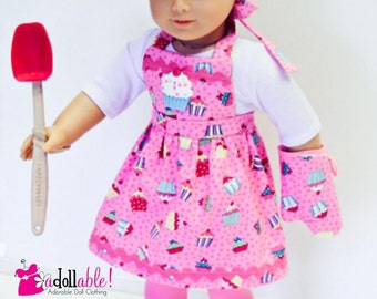 American made Girl Doll Clothes, 18 inch Girl Doll Clothing, Baker Outfit made to fit like American girl doll clothes