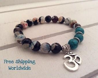 Mala Bracelet, Agate Mala Bracelet, Om Bracelet, Silver Om Mala Bracele, Mala Beads,  Yoga Bracelet, Energy Bracelet,Tribal Bracelet, Love