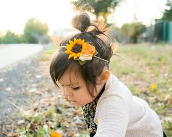 Sunflower   Felt Sunflower Headband - Sunflower Hair Clip - Sunflower Hair Accessories - Orange Flowers -  Spring Floral - Summer Floral -