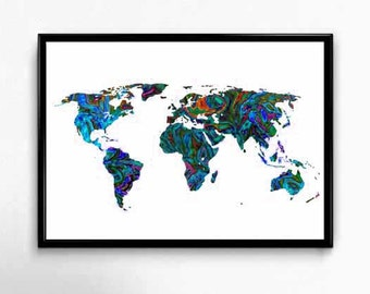 World Map Prints, Large Map,World Map Art, Large World Map, World Map Canvas Wall Print, Psychedelic Art, Psychedelic Print, Large Map Print