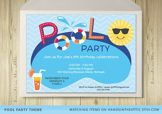 pool party invitation card editable template by handsintheattic