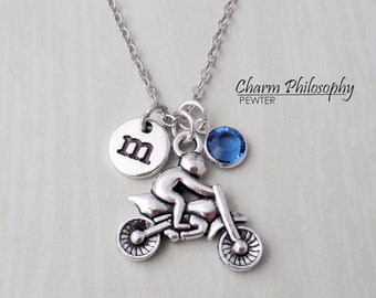 Motocross Necklace - Monogram Personalized Initial and Birthstone - Antique Silver Motorcycle Pendant