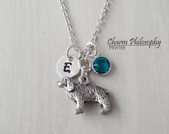 Spaniel Necklace - Dog Lovers Gift - Personalized Monogram Initial and Birthstone - Antique Silver Pewter Jewelry
