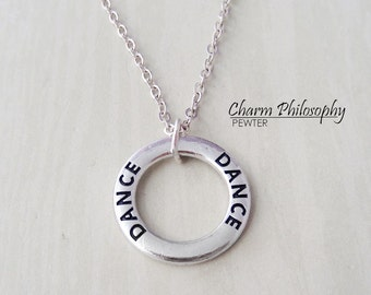 Dance Necklace - Words Charm - Hollow Ring Necklace - Antique Silver Jewelry