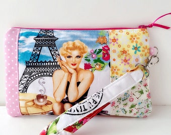 Wristlet purse with interior pocket, wristlet pouch, cellphone wristlet, French woman with flowers