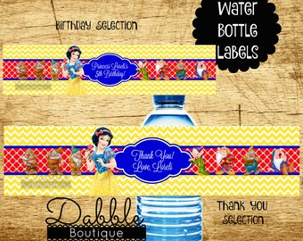 Snow White Water Bottel Labels / Snow White and the 7 Dwarfs Water Bottle Labels