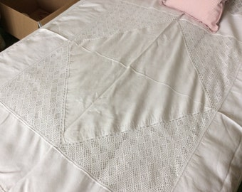 Large lace tablecloth, lace bedspread, lace throw.
