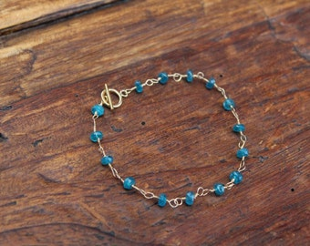 Blue Appetite Wire Wrapped Gold Filled Bracelet