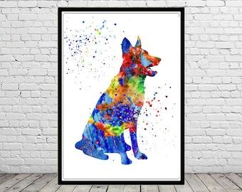 German Shepherd, watercolor art print, animal painting, home decor, watercolor painting dog, animal art, dog (179b)