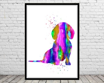 Dachshund, Dachshund dog, watercolor print, animal print, watercolor Dachshund, dog art, dog, Kids Room Decor, Poster, wall art (2199b)