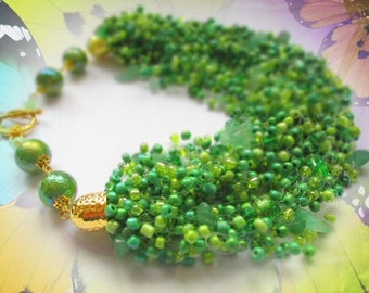 Light green seed bead necklace – green necklace with jade stone – airy multi strand seed bead necklace