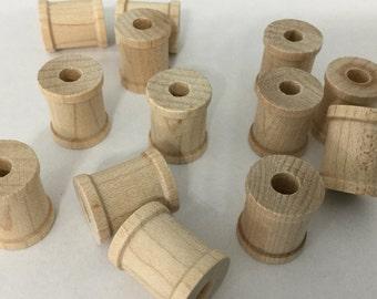 """24 Unfinished Wooden Spools 5/8"""" x 3/4"""" , Miniature Spools, Mini Spool, Spools, Craft Supply,"""