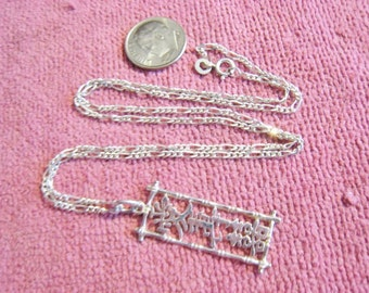 Sterling Chain and Drop Necklace