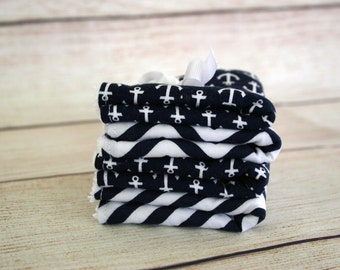Wash Cloths - Baby Wash Me Up Cloths - Navy Anchors and Chevron
