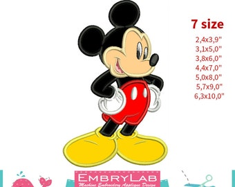 Applique Mickey Mouse. Machine Embroidery Applique Design. Instant Digital Download (16249)