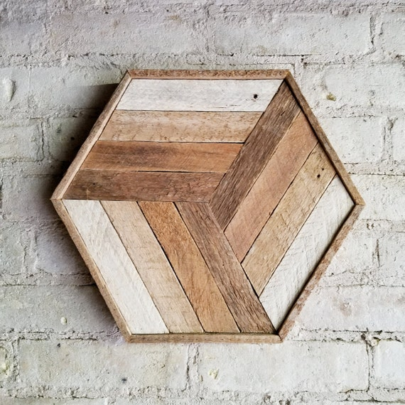 Reclaimed Wood Wall Art, Decor, Cube, Gradient, Lath, 12 x 14