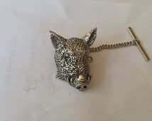 A44 Wild Boar's Head Tie Pin With Chain English Pewter Handmade In Sheffield